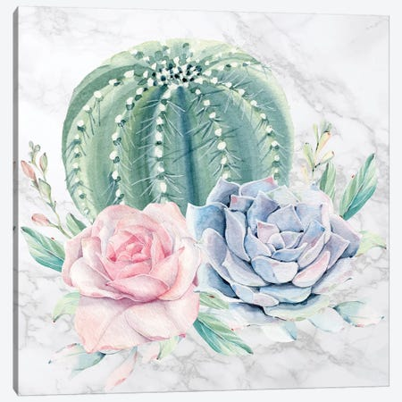 Desert Cactus and Succulents Floral Watercolor on Marble 3-Piece Canvas #MGK267} by Nature Magick Canvas Art Print