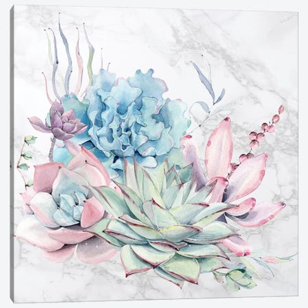 Desert Succulents Flowers Watercolor on Marble 3-Piece Canvas #MGK270} by Nature Magick Canvas Art Print