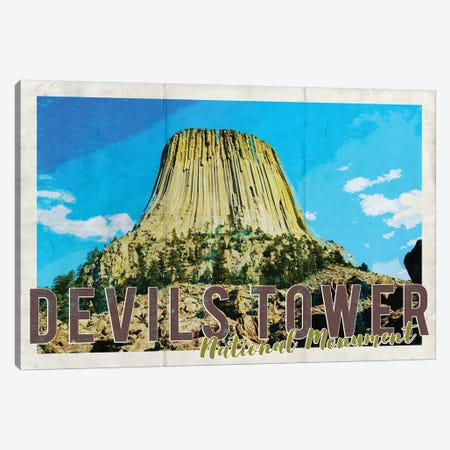 Devils Tower National Monument Vintage Postcard Canvas Print #MGK271} by Nature Magick Art Print