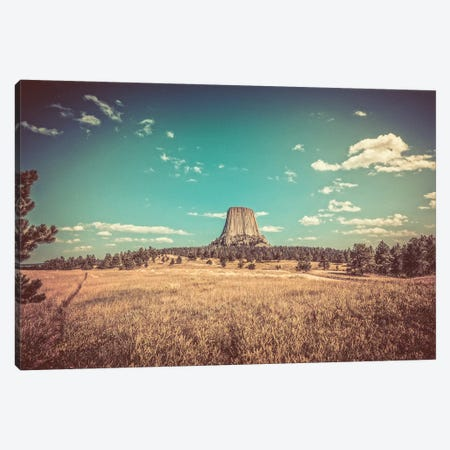 Devils Tower National Monument Vintage Turquoise Adventure Canvas Print #MGK272} by Nature Magick Canvas Art Print