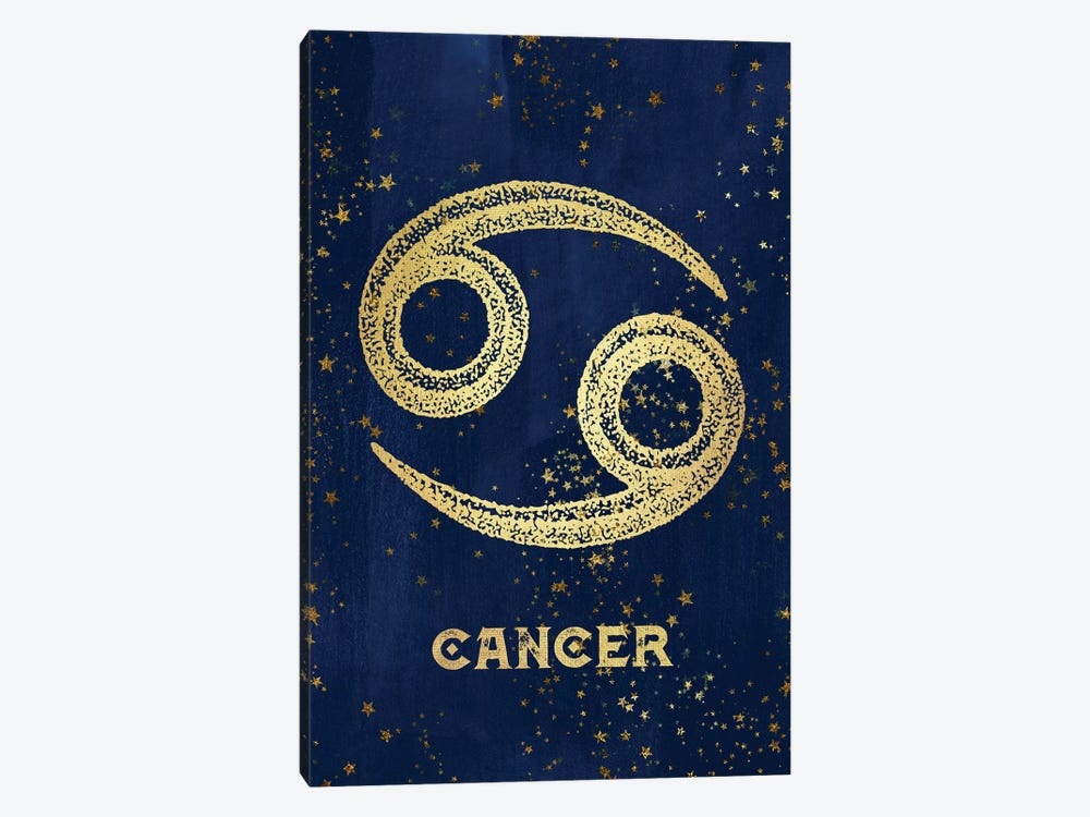 Cancer Zodiac Sign In Gold Copper Bronze On Navy Blue Night Sky With Astrological Stars by Nature Magick 1-piece Art Print