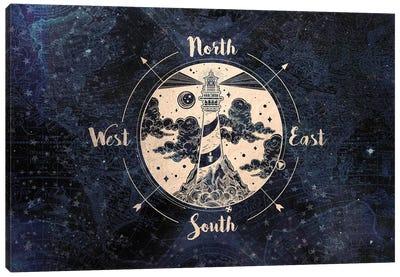 Gold Adventure Compass Lighthouse Vintage Navy Map Canvas Art Print