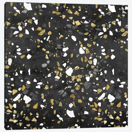 Gold Silver Marble Terrazzo Canvas Print #MGK287} by Nature Magick Art Print