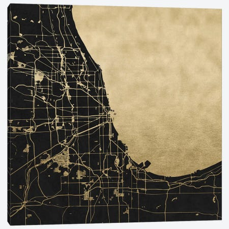 Chicago Illinois City Map Black And Gold Metallic Canvas Print #MGK29} by Nature Magick Canvas Wall Art