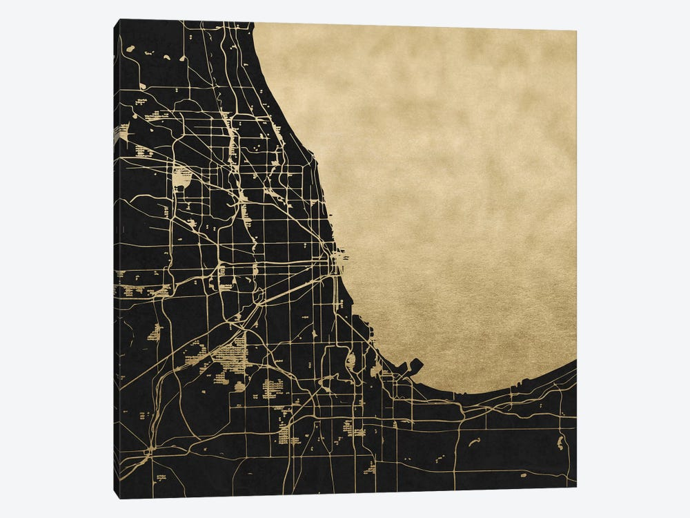 Chicago Illinois City Map Black And Gold Metallic 1-piece Canvas Print