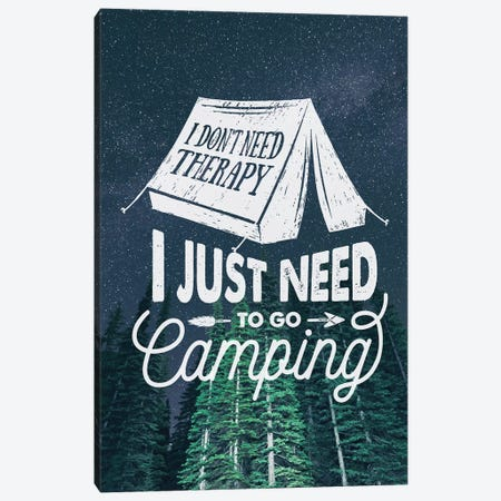 I Just Need Camping In Green Forest Stars Portrait Canvas Print #MGK305} by Nature Magick Canvas Artwork