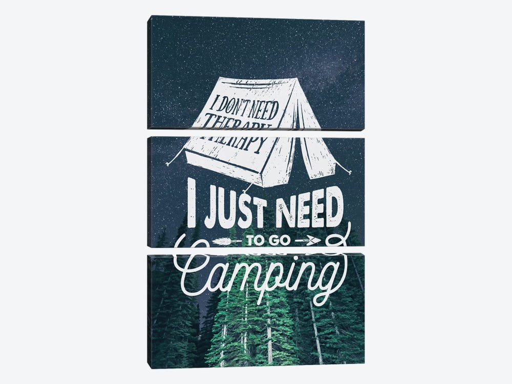 I Just Need Camping In Green Forest Stars Portrait by Nature Magick 3-piece Canvas Print