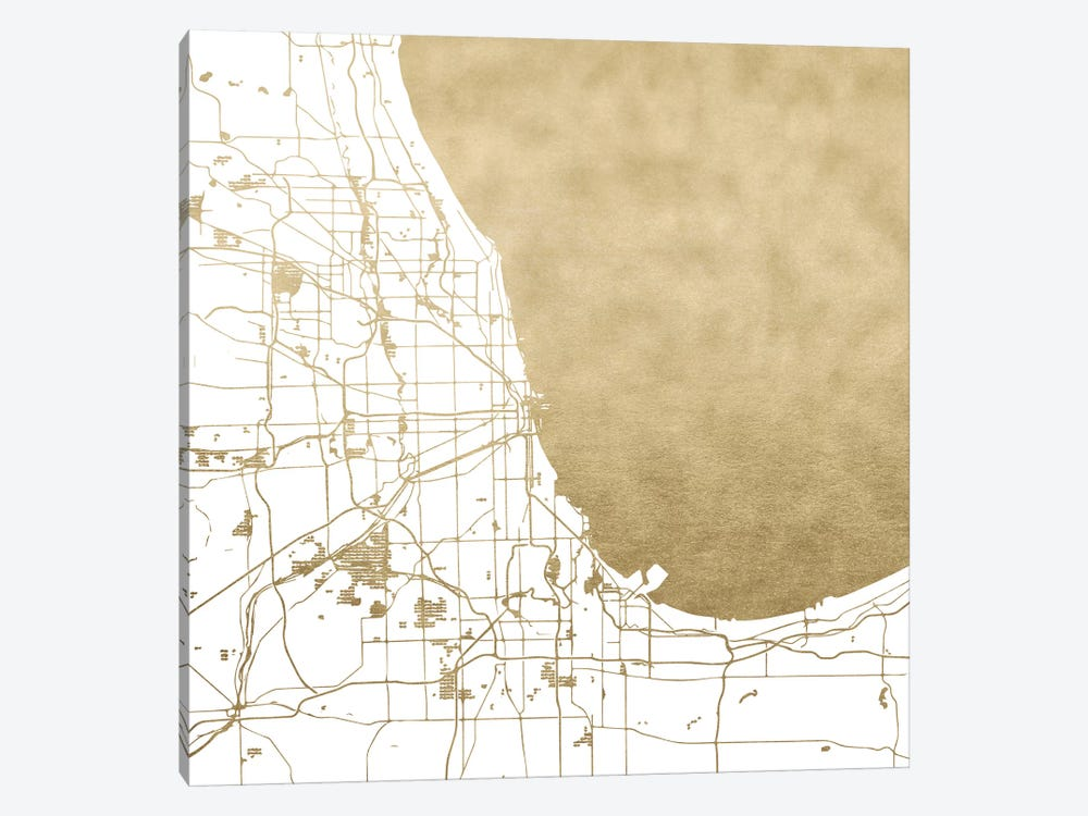 Chicago Illinois City Map White And Gold Metallic by Nature Magick 1-piece Canvas Art Print