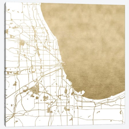Chicago Illinois City Map 3-Piece Canvas #MGK30} by Nature Magick Canvas Print
