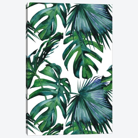 Classic Palm Leaves Tropical Jungle Plants In Island Green And White Canvas Print #MGK32} by Nature Magick Canvas Print