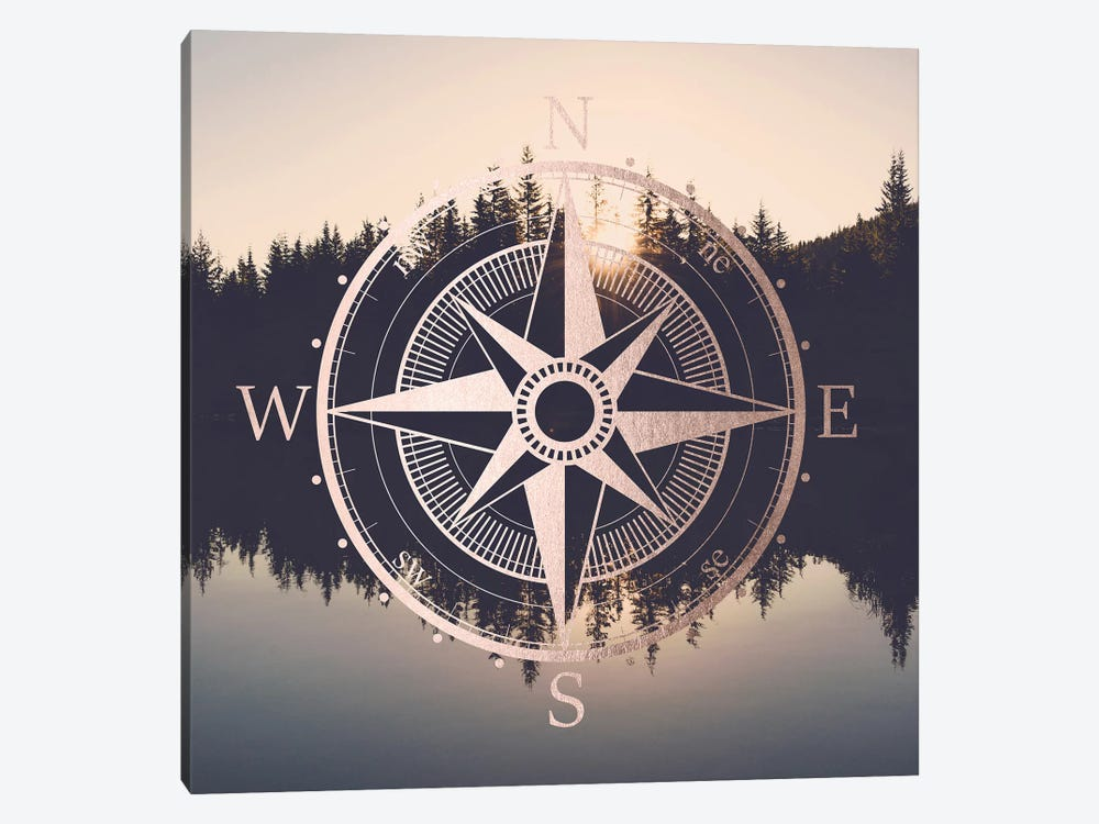 Compass Sunrise Mount Hood Oregon by Nature Magick 1-piece Canvas Art