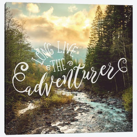 Long Live Adventure In Mountain River Sunset Canvas Print #MGK344} by Nature Magick Canvas Artwork
