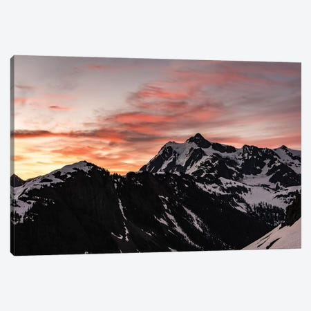 Dawn In The Mountains Pink Mountain Sunrise In The Cascades Nature Canvas Print #MGK34} by Nature Magick Canvas Wall Art