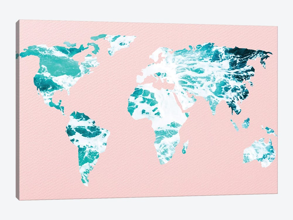 Map of Ocean Waves on Pink by Nature Magick 1-piece Canvas Print