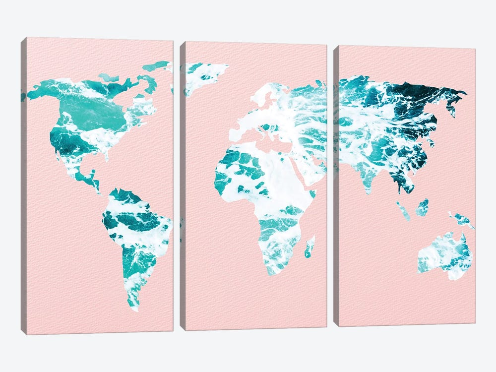 Map of Ocean Waves on Pink by Nature Magick 3-piece Art Print