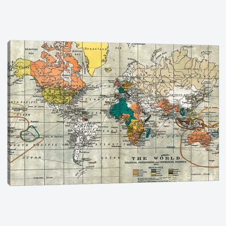 Map of the Old World Canvas Print #MGK355} by Nature Magick Art Print