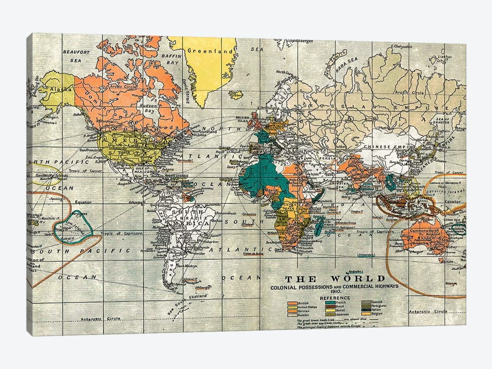 Map of the Old World by Nature Magick 1-piece Canvas Wall Art