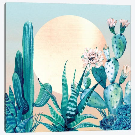 Desert Dawn Cactus I Canvas Print #MGK35} by Nature Magick Canvas Artwork