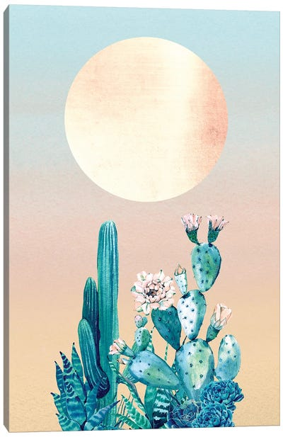 Desert Dawn Cactus Succulents And Sun Southwestern In Turquoise Blue Green And Coral Orange II Canvas Art Print