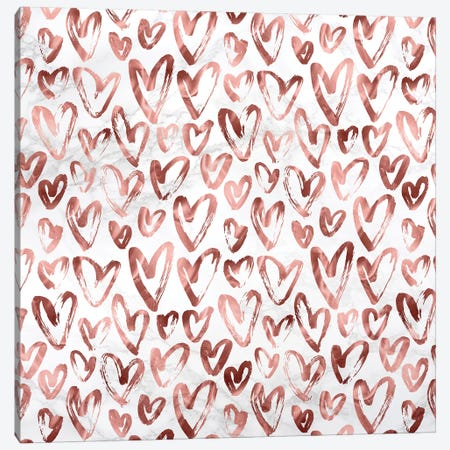 Marble Rose Gold Hearts on Gray White Canvas Print #MGK371} by Nature Magick Canvas Wall Art
