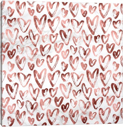 Marble Rose Gold Hearts on Gray White Canvas Art Print