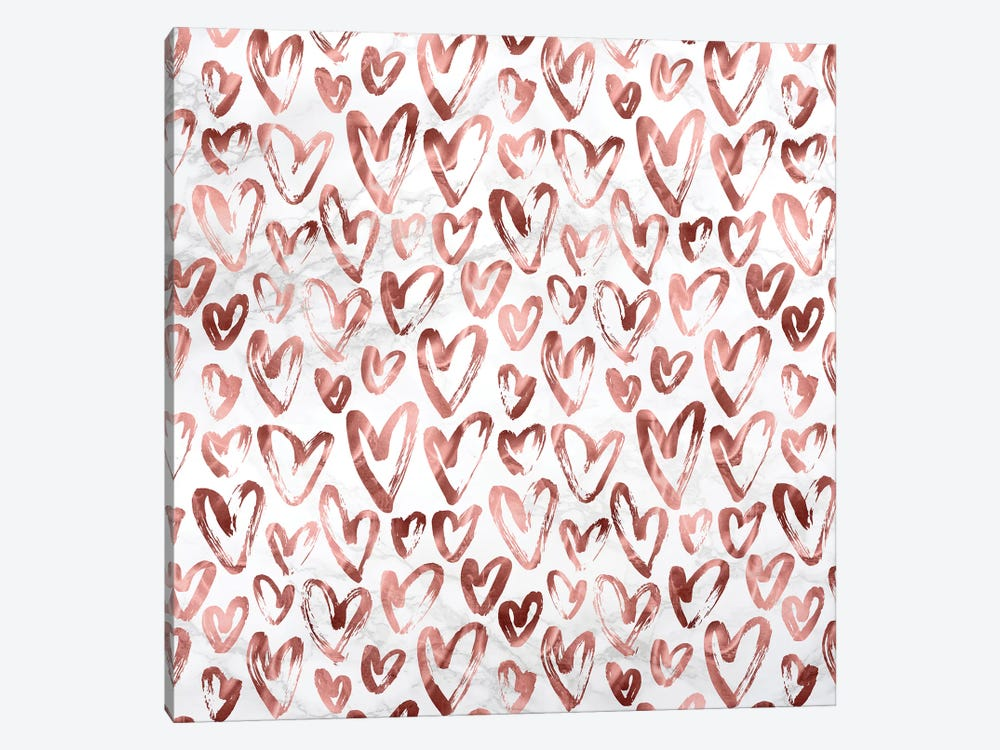 Marble Rose Gold Hearts on Gray White by Nature Magick 1-piece Canvas Art