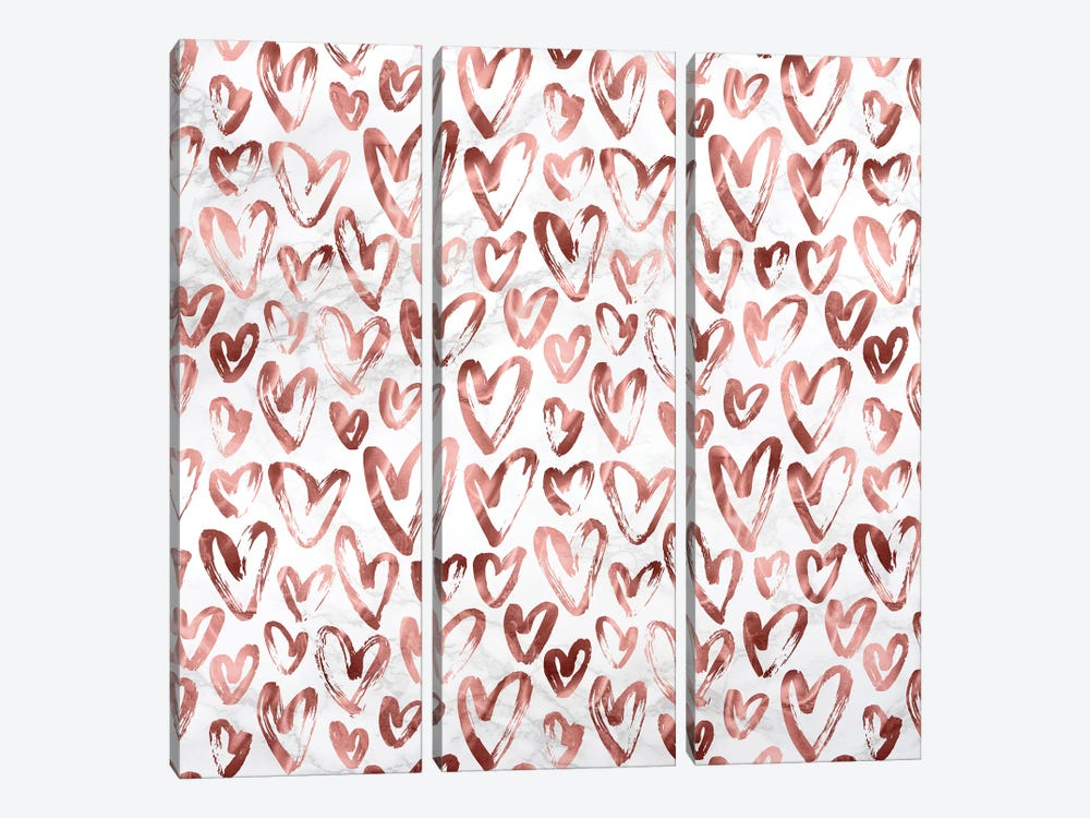 Marble Rose Gold Hearts on Gray White 3-piece Canvas Artwork