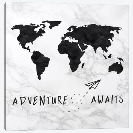 Marble World Map Black Adventure Awaits Square Canvas Print #MGK372} by Nature Magick Canvas Wall Art