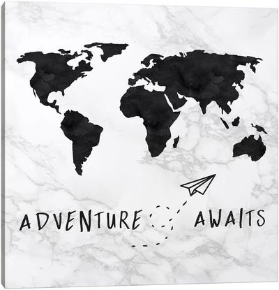 Marble World Map Black Adventure Awaits Square Canvas Art Print