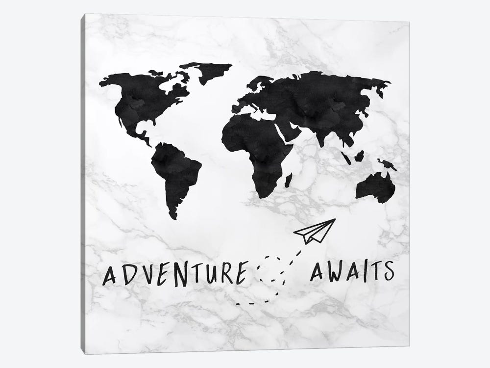 Marble World Map Black Adventure Awaits Square by Nature Magick 1-piece Canvas Art Print
