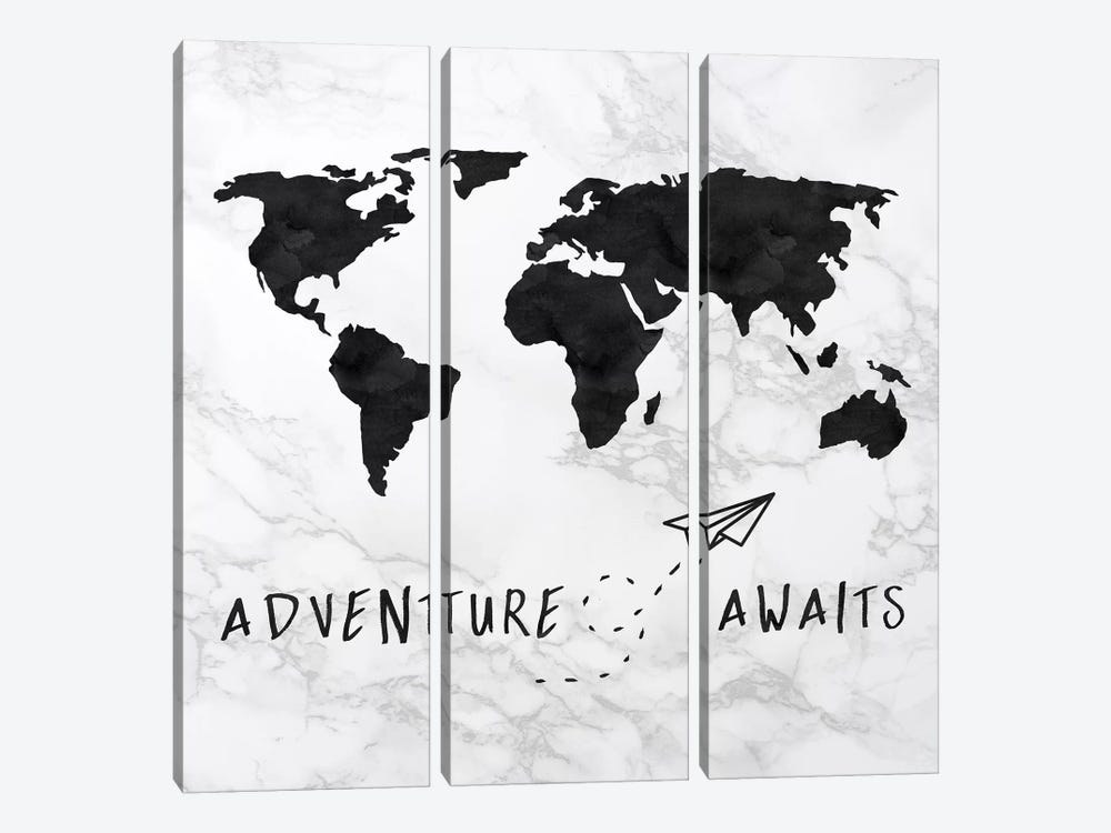 Marble World Map Black Adventure Awaits Square by Nature Magick 3-piece Canvas Art Print