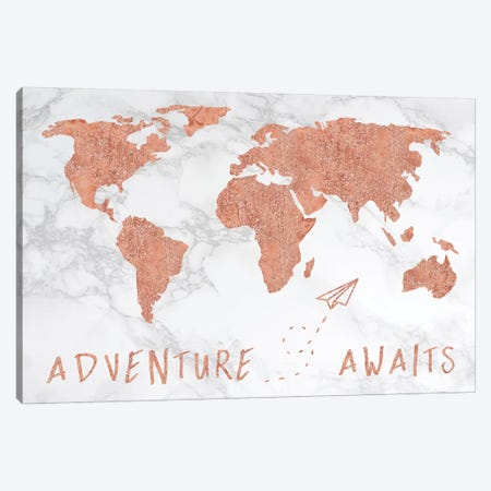 Marble World Map Rose Gold Adventure Awaits Canvas Print #MGK373} by Nature Magick Canvas Art