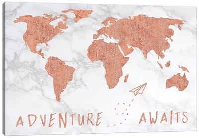 Marble World Map Rose Gold Adventure Awaits Canvas Art Print