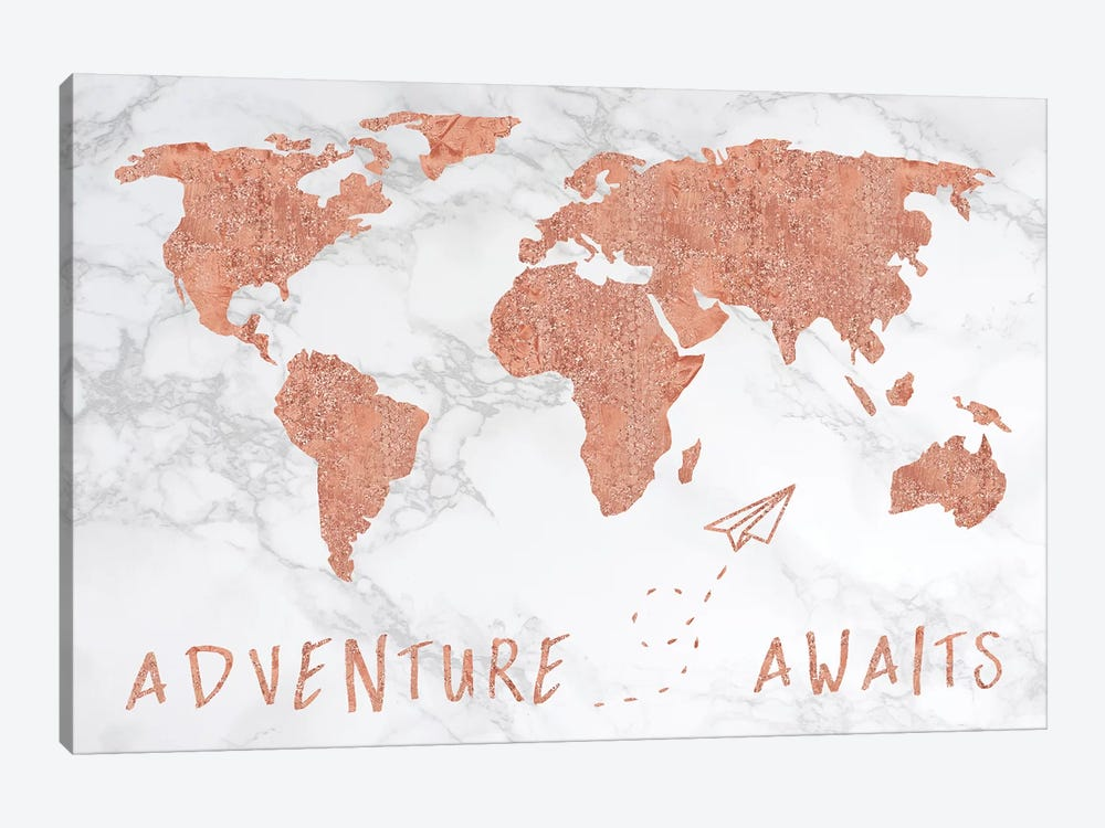 Marble World Map Rose Gold Adventure Awaits by Nature Magick 1-piece Canvas Art