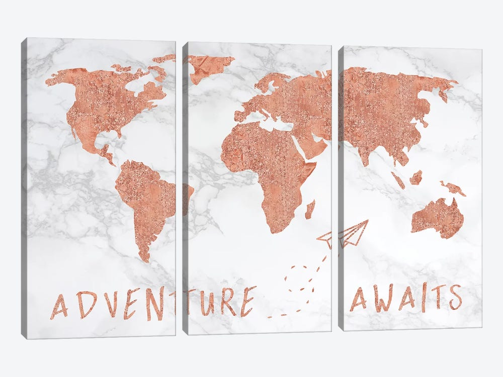 Marble World Map Rose Gold Adventure Awaits by Nature Magick 3-piece Canvas Artwork