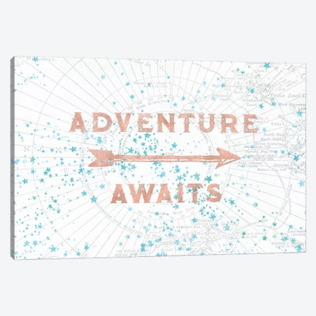 In Adventure Awaits Rose Gold Map Canvas Print #MGK376} by Nature Magick Art Print