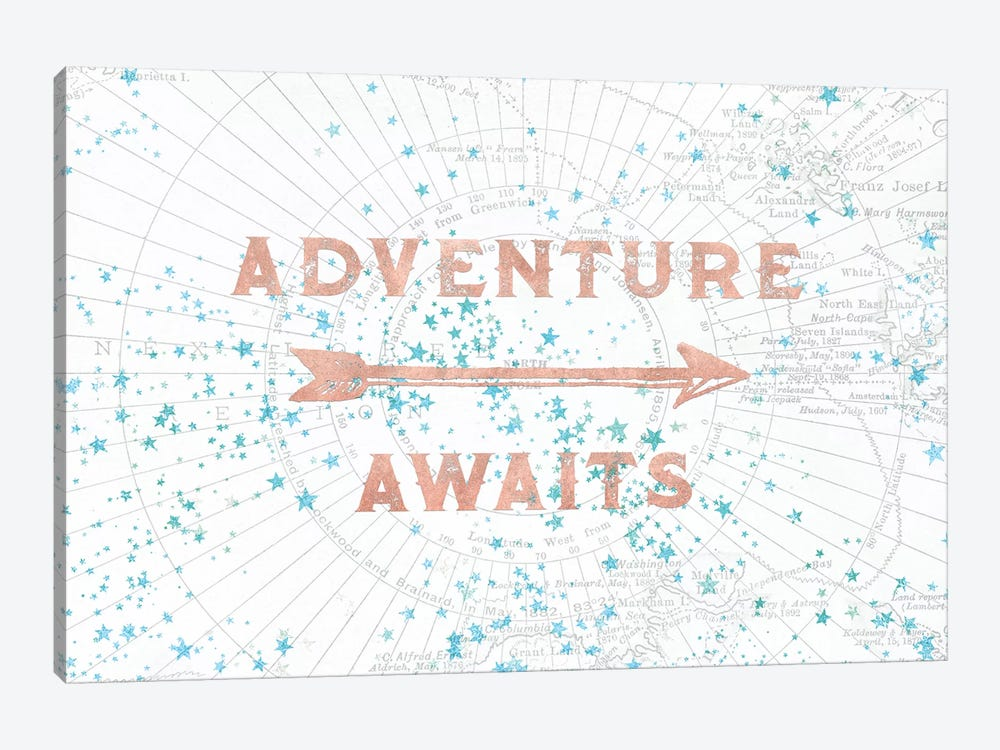 In Adventure Awaits Rose Gold Map by Nature Magick 1-piece Art Print
