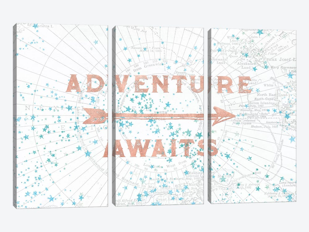In Adventure Awaits Rose Gold Map by Nature Magick 3-piece Canvas Art Print