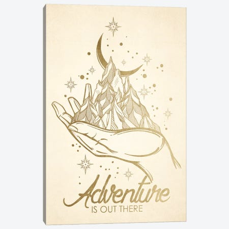 In Adventure Is Out There Gold Mountain Moon Canvas Print #MGK379} by Nature Magick Canvas Art