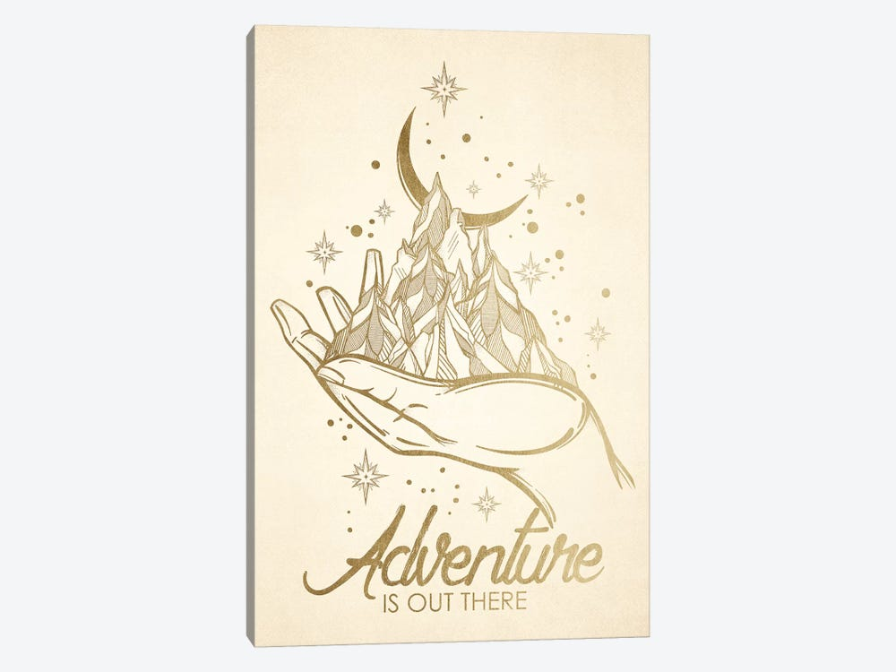 In Adventure Is Out There Gold Mountain Moon by Nature Magick 1-piece Canvas Wall Art