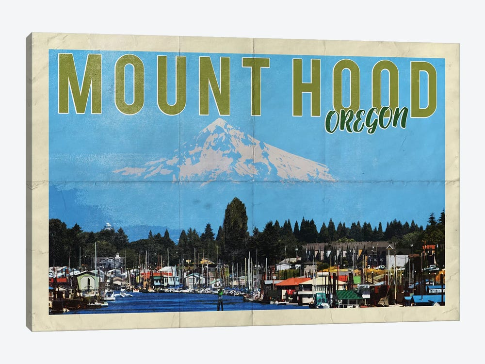 Mount Hood Oregon River Vintage Postcard by Nature Magick 1-piece Canvas Wall Art