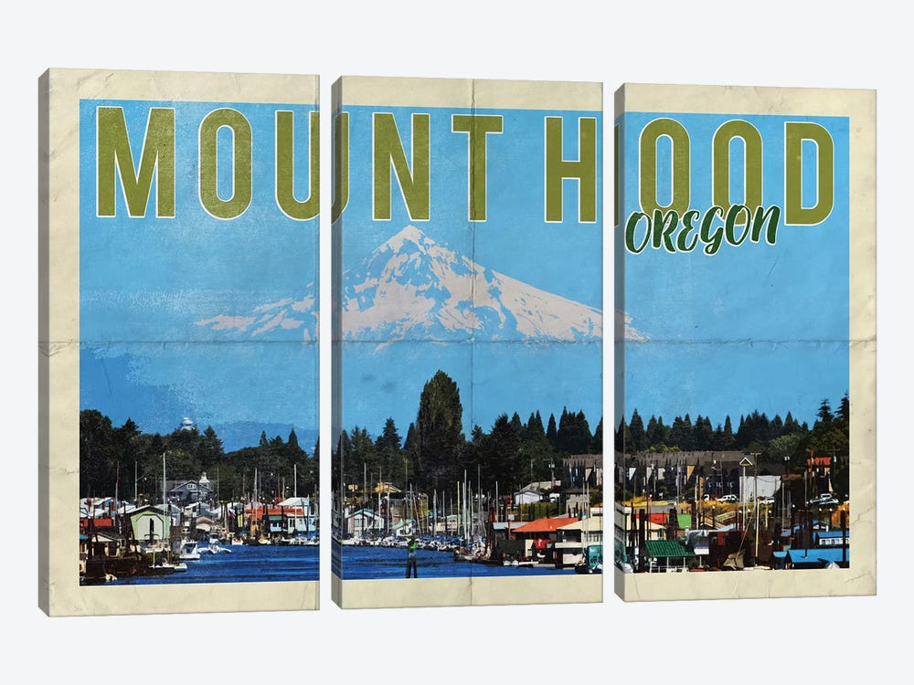 Mount Hood Oregon River Vintage Postcard 3-piece Canvas Artwork