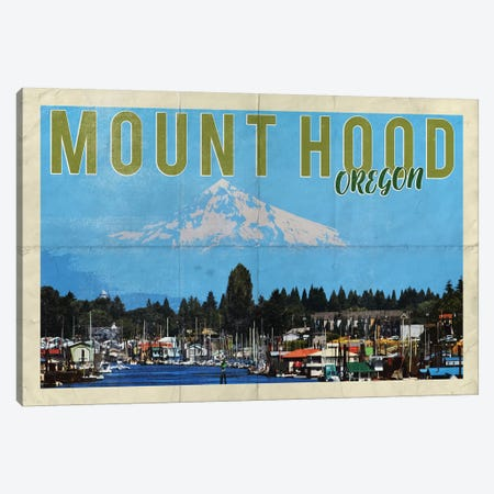 Mount Hood Oregon River Vintage Postcard Canvas Print #MGK388} by Nature Magick Canvas Art Print
