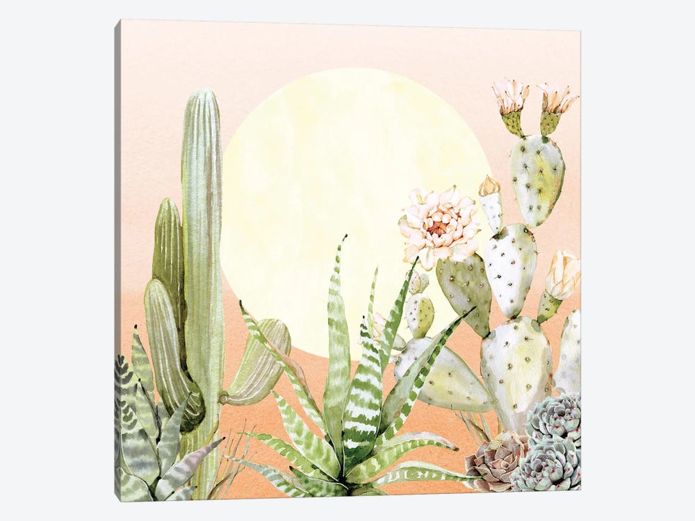 Desert Days Cactus Succulents And Sun Southwestern In Orange Green And Yellow I by Nature Magick 1-piece Canvas Print