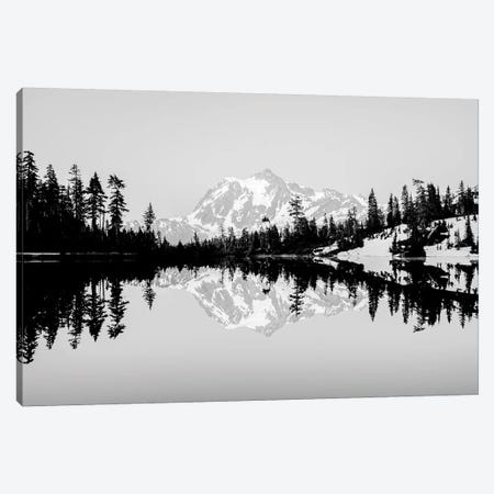 Mountain Lake Reflection Vintage Black and White Canvas Print #MGK391} by Nature Magick Canvas Wall Art