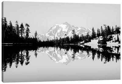 Mountain Lake Reflection Vintage Black and White Canvas Art Print