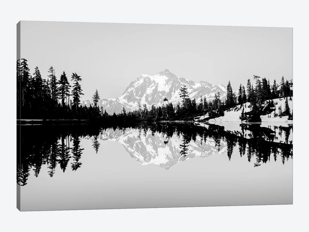 Mountain Lake Reflection Vintage Black and White by Nature Magick 1-piece Canvas Artwork