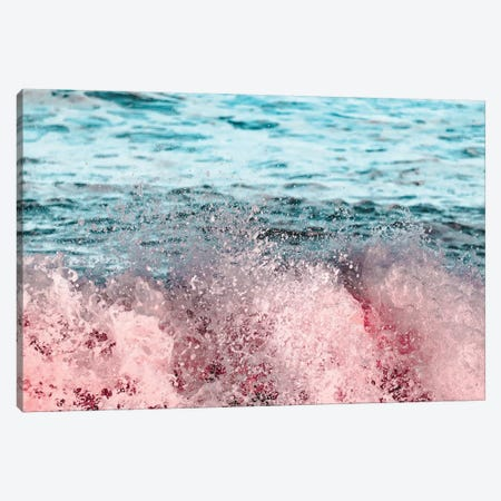 Ocean Waves Turquoise Pink Sea Adventure Canvas Print #MGK403} by Nature Magick Canvas Art