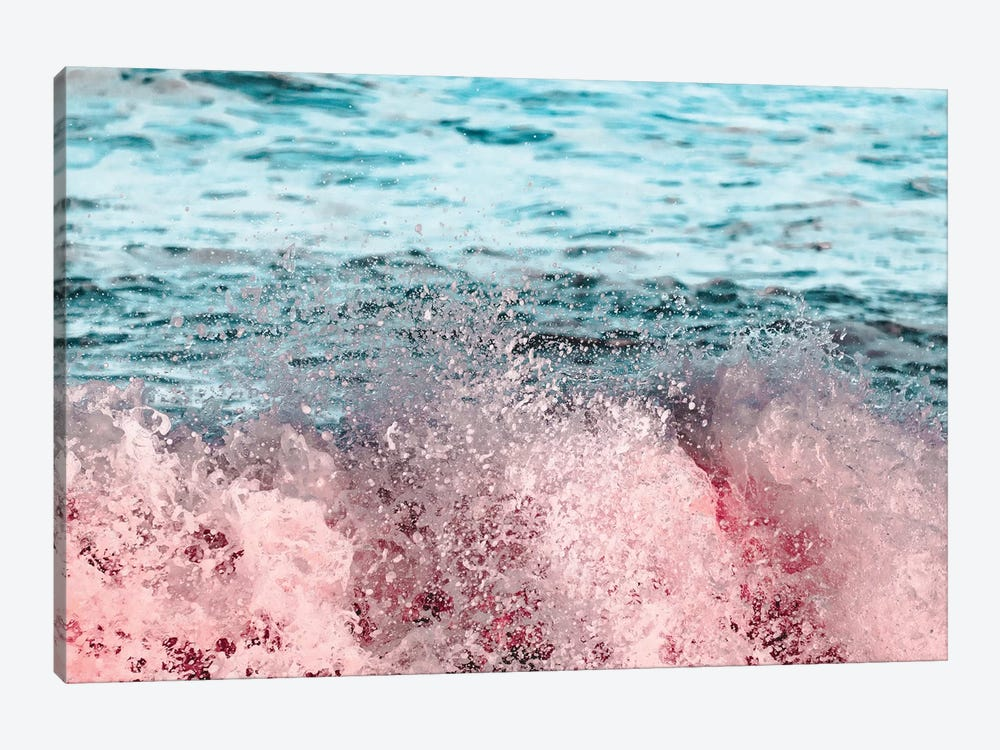 Ocean Waves Turquoise Pink Sea Adventure by Nature Magick 1-piece Canvas Artwork