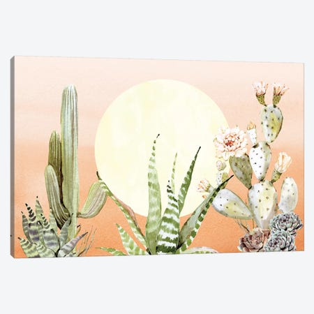 Desert Days Cactus Succulents And Sun Southwestern In Orange Green And Yellow III Canvas Print #MGK40} by Nature Magick Canvas Wall Art